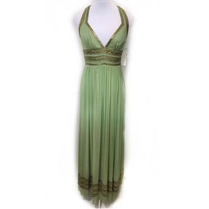 Adrianna Papell 6 Green Beaded Halter Gown